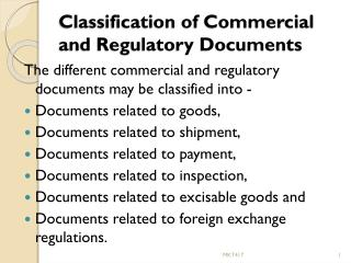 Classification of Commercial and Regulatory Documents