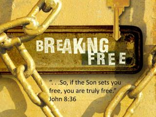 """. . .So, if the Son sets you free, you are truly free."" John 8:36"
