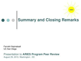 Summary and Closing Remarks