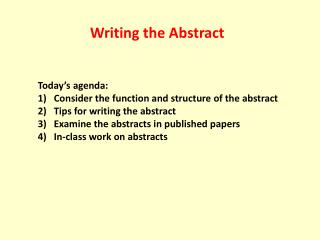 Writing the Abstract