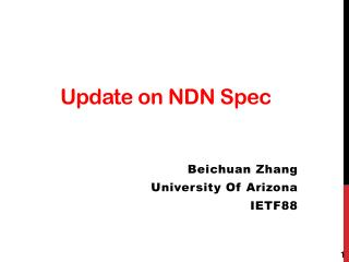 Update on NDN Spec