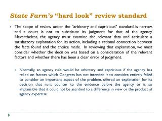 """State Farm's  """"hard look"""" review standard"""
