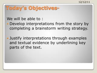 Today's Objectives-