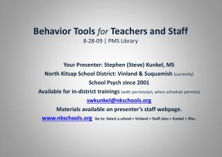 Behavior Tools  for  Teachers and Staff 8-28-09 | PMS Library