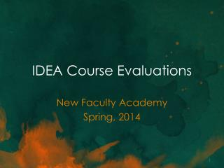 IDEA Course Evaluations