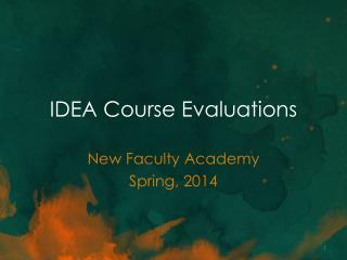 IDEA Course Evaluations