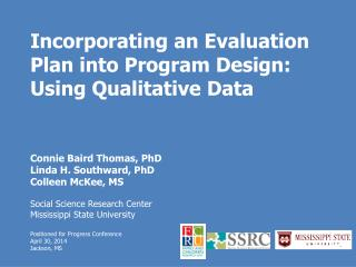 Incorporating an Evaluation Plan into Program Design: Using Qualitative Data