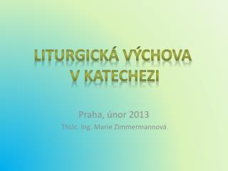 Praha, únor 2013 ThLIc . Ing. Marie Zimmermannová
