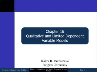 Chapter 16 Qualitative and Limited Dependent Variable Models
