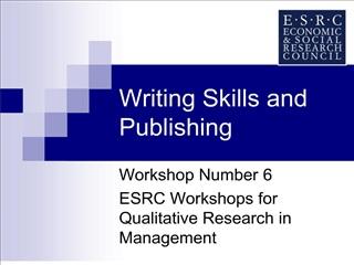 Writing Skills and Publishing