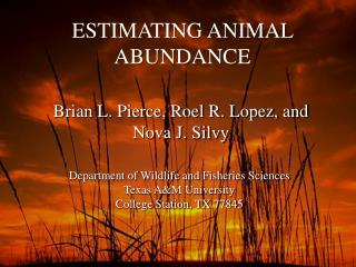 ESTIMATING ANIMAL ABUNDANCE