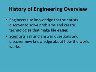 History of Engineering Overview