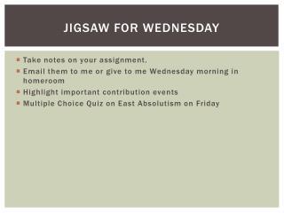 Jigsaw For Wednesday