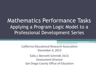 Mathematics Performance Tasks Applying a Program Logic Model to a Professional Development Series