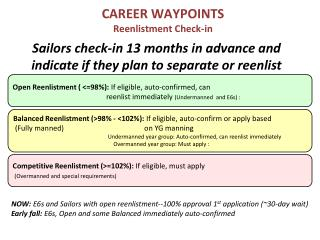 Sailors check-in 13 months in advance and indicate if they plan to separate or reenlist
