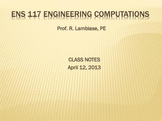 Ens  117 Engineering computations