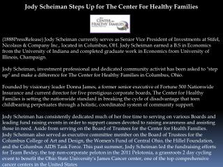 Jody Scheiman Steps Up for The Center For Healthy Families
