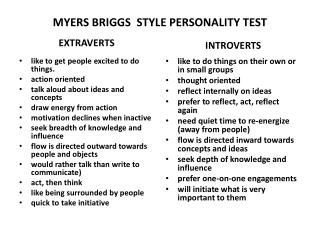 MYERS BRIGGS  STYLE PERSONALITY TEST