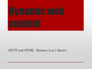 Dynamic web content