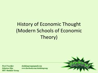 History of Economic Thought (Modern Schools of Economic Theory)
