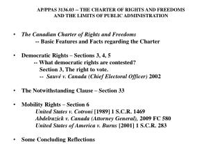 AP/PPAS 3136.03  --  THE CHARTER OF RIGHTS AND FREEDOMS  AND THE LIMITS OF PUBLIC ADMINISTRATION