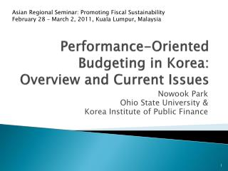 Performance-Oriented Budgeting in Korea: Overview and Current Issues