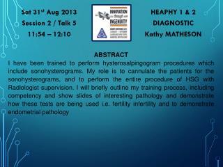 HEAPHY 1 & 2 DIAGNOSTIC Kathy MATHESON