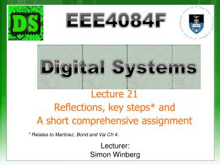 Lecture 21 Reflections, key steps* and A short comprehensive assignment