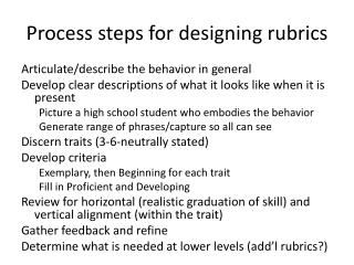 Process  steps for  designing rubrics