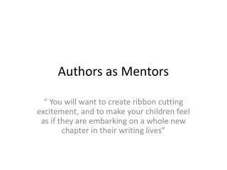 Authors as Mentors