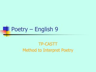 Poetry – English 9