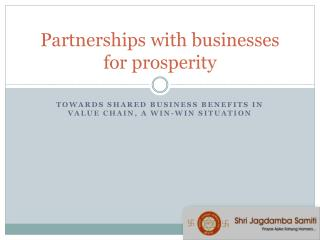 Partnerships with businesses for prosperity