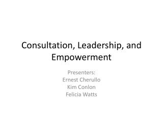 Consultation, Leadership, and Empowerment
