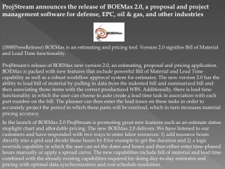 ProjStream announces the release of BOEMax 2.0, a proposal a
