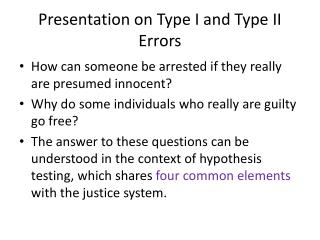 Presentation on Type I and Type II Errors