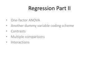 Regression Part II
