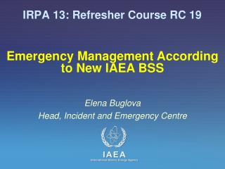 IRPA 13: Refresher Course RC 19