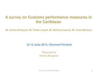 A  survey  on Customs performance  measures  in the  Caribbean