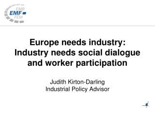 Europe 2020: industrial policy centre-stage