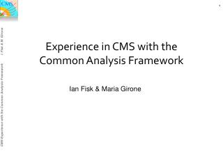 Experience in CMS with the Common Analysis Framework