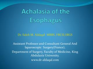 Achalasia of the Esophagus