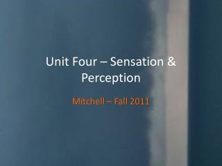 Unit Four – Sensation & Perception