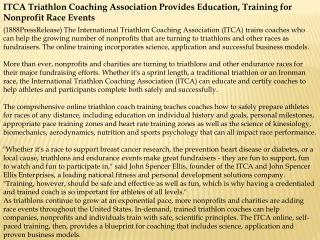 ITCA Triathlon Coaching Association Provides Education, Trai