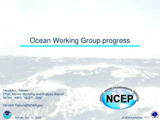 Ocean Working Group progress