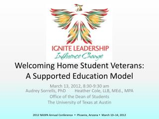 Welcoming Home Student Veterans: A Supported Education Model