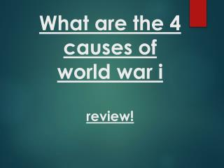 What are the 4 causes of  world war  i review!