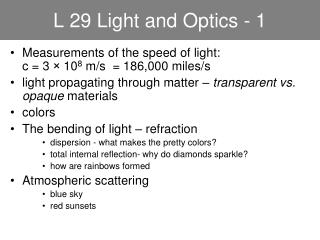 L 29 Light and Optics - 1