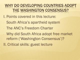 Why do developing countries adopt the Washington consensus?