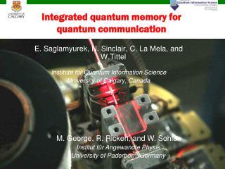 Integrated quantum memory for quantum communication
