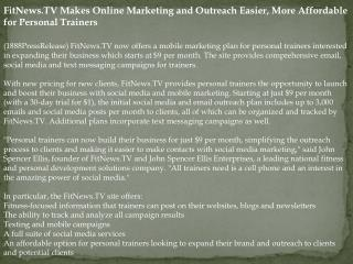 FitNews.TV Makes Online Marketing and Outreach Easier, More